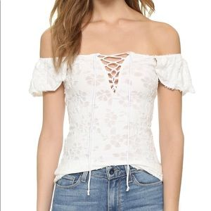 Free People Ivory Lace Up Top